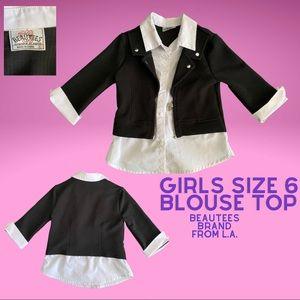 Girls dress up size 6 button blouse top